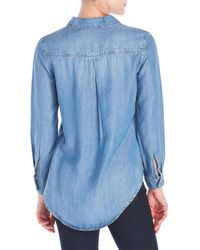Workshop - Blue Petite Lace-Up Chambray Blouse - Lyst