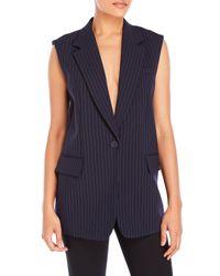 DKNY | Blue Pinstripe Notch Collar Vest | Lyst