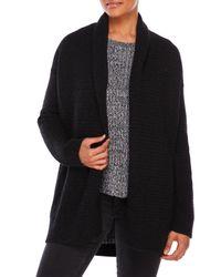 VINCE | Black Open Textured Sweater Jacket | Lyst