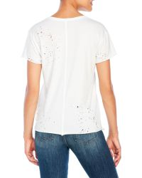 True Religion - White Distressed Crew Tee - Lyst
