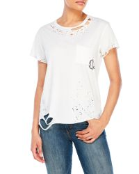 True Religion | White Distressed Crew Tee | Lyst