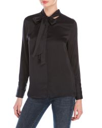Equipment | Black Tie-Front Silk Blouse | Lyst