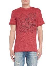 Desigual Red Stripe Scrambled Logo Tee for men