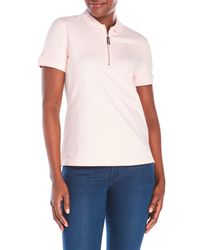 Tommy Hilfiger | Pink Embroidered Zip Polo | Lyst