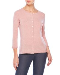 Qi | Pink Knit Cashmere Cardigan | Lyst