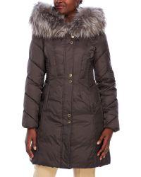 Via Spiga | Brown Hooded Faux Fur Trim Puffer Coat | Lyst