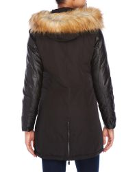 7 For All Mankind Black Faux Fur Trim Hooded Down Coat