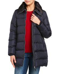 Lauren by Ralph Lauren | Blue Faux Fur Collar Down Coat | Lyst