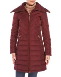 MICHAEL Michael Kors | Red Down Jacket With Wide Collar | Lyst
