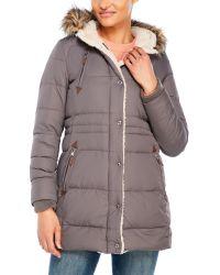 Lauren by Ralph Lauren | Gray Cold Weather Hooded Down Coat | Lyst