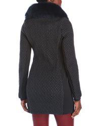 Zac Posen - Multicolor Real Fur Trim Quilted Coat - Lyst