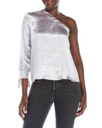 Re:named | Metallic One-Shoulder Blouse | Lyst