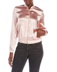 Re:named | Pink Silky Bomber Jacket | Lyst