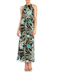 Connected Apparel | Black Tropical Print Maxi Dress | Lyst