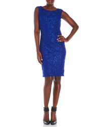 Connected Apparel | Blue Sequined Lace Sheath Dress | Lyst