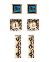 House of Harlow 1960 | Metallic Set Of 3 Gold-Tone Stud Earrings | Lyst