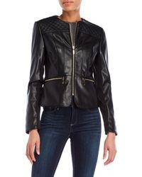 Ivanka Trump - Black Basket Weave Faux Leather Jacket - Lyst