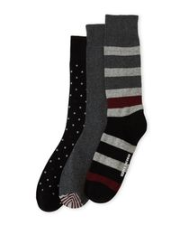Ben Sherman - Gray 3-pack Rugby Striped Crew Socks for Men - Lyst
