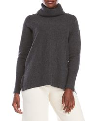 In Cashmere - Gray Ribbed Cowl Neck Cashmere Sweater - Lyst