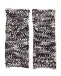Threads For Thought - Black Mixed Knit Fingerless Gloves - Lyst