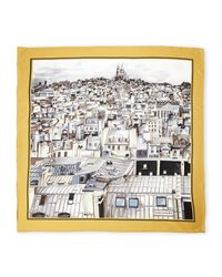 Longchamp Gray Large Printed Square Silk Scarf