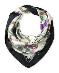 Boutique Moschino | Gray Silk Horseshoe Scarf | Lyst