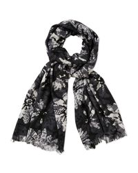 Badgley Mischka - Black Wool Floral Print Scarf - Lyst
