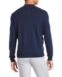Thomas Dean Blue Quarter-zip Pullover Sweater for men