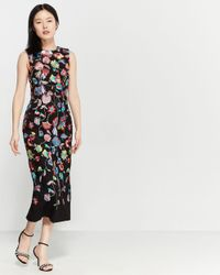 ML Monique Lhuillier Multicolor Sleeveless Embroidered Dress