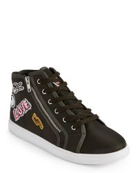 Madden Girl Green Olive Cindy Satin High Top Sneakers