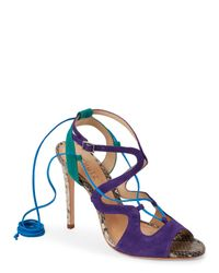 Schutz | Purple & Teal Grenitta Lace-Up High Heel Sandals | Lyst
