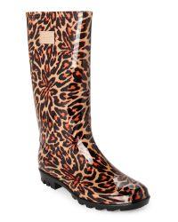 Nicole Miller   Brown Leopard Rena Rain Boots   Lyst