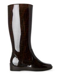 Fendi - Brown Zucca Wedge Rain Boots - Lyst