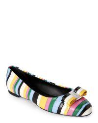 Ferragamo | Multicolor Varina Row Ballet Flats | Lyst