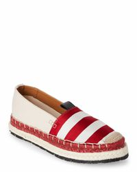Acne   Red & White Bibiana Stripe Platform Espadrilles   Lyst