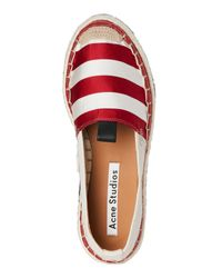 Acne - Red & White Bibiana Stripe Platform Espadrilles - Lyst