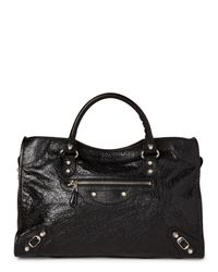 Balenciaga - Black Classic City Silver Arena Leather Bag - Lyst
