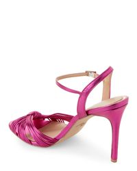 Badgley Mischka Multicolor Fuchsia Lady Metallic Ankle Strap Sandals
