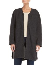 Le Mont St Michel Gray V-neck Wool Coat