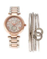 Adrienne Vittadini Metallic Adst1654R165 Rose Gold-Tone & Silver Watch & Bracelet Set