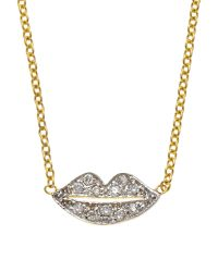 Kacey K | Metallic 14K Gold Diamond Lips Pendant Necklace | Lyst
