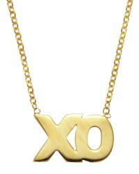 Kacey K   Black 14K Gold Xo Pendant Necklace   Lyst