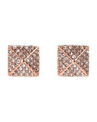 Vince Camuto - Metallic Rose Gold-Tone Encrusted Pyramid Stud Earrings - Lyst