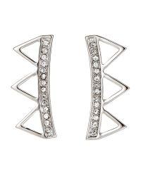 Rebecca Minkoff | White Three-Triangle Climber Earrings | Lyst