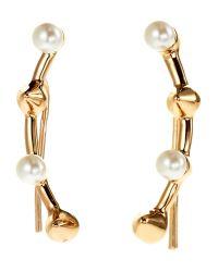 Rebecca Minkoff | Metallic Gold-Tone & Faux Pearl Climber Earrings | Lyst