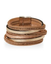 Elise M | Metallic Gold-Tone Multi Strand Bracelet | Lyst