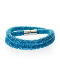 Swarovski - Blue Palladium-plated Double Wrap Bracelet - Lyst