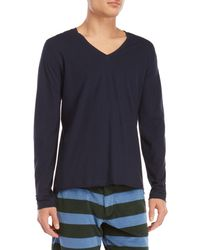 Roberto Collina - Blue V-neck Long Sleeve Tee for Men - Lyst