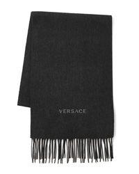Versace - Gray Logo Wool Scarf for Men - Lyst