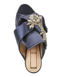 N°21 Navy Blue Raso Embellished Satin Mules